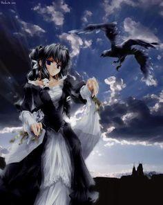 anime girl with raven