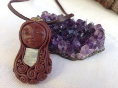 Goddess fairy wild woman rough aquamarine polymer clay Crystal stone leather necklace  on Etsy, $30.00