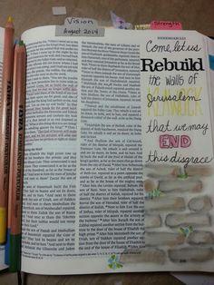 Nehemiah 2:17 Katie Goodale Bible Journal, Journal Art, Art Journaling, Bible Illustrations, Bible Love, Inspirational Signs, Illustrated Faith, Journal Inspiration, Journal Ideas