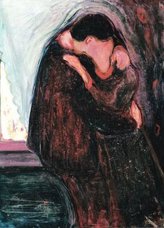 """Edvard Munch, """"The Kiss,"""" 1897 // My preference to Gustav Klimt's more recognized """"The Kiss."""" I enjoy the dark eeriness of this image and its vibrating expressiveness."""