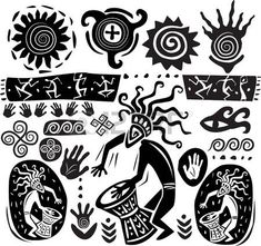 Vector Set Of Elements Of Primitive Art Royalty Free Cliparts, Vectors, And Stock Illustration. Pic Of Elements Of Primitive Art Royalty Free Cliparts, Vectors, And Stock Illustration. Arte Tribal, Tribal Art, Native Art, Native American Art, Art Indien, African Symbols, Afrique Art, Cave Drawings, Tribal Patterns
