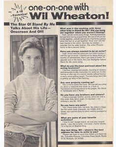 wil wheaton young | Wil Wheaton SuperTeen Wesley Crusher, Wil Wheaton, Old And Teen, Aesthetic Pictures, Aesthetic Movies, River Phoenix, Young Actors, Bff Goals, Teen Boys