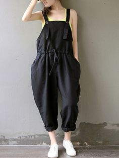 Women's Solid Black Jumpsuits,Plus Size / Casual / Day Strap Sleeveless Loose Thin Elastic Waist Fashion Cotton/Linen - USD $14.99 ! HOT Product! A hot product at an incredible low price is now on sale! Come check it out along with other items like this. Get great discounts, earn Rewards and much more each time you shop with us!