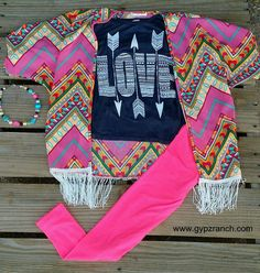 Kids - Dancing With Neon Chevron Fringe Cardigan www.gypzranch.com