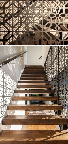 The artistic pattern on the railing of one side of this staircase not only creates a unique design detail in the home, but also creates the pattern on the opposite wall when the sun shines through the sliding glass door.