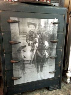 This old dresser I painted in Annie Sloan Graphite paint and then decopauged this seriously cute little cowboy and pony! Decopage Furniture, Weathered Furniture, Western Furniture, Small Furniture, Paint Furniture, Repurposed Furniture, Furniture Projects, Furniture Makeover, Vintage Furniture