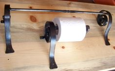 Scroll Towel Bar & Toilet Paper Holder Set - Hand Forged Wrought Iron. $55.00, via Etsy.