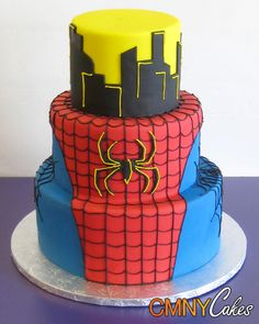 Spider-Man 3 Cake | Tier Spiderman On Rooftop Cake
