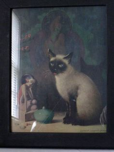 Vintage Framed Art - King of Siam - Siamese Cat - Art Deco  #craftshout0128