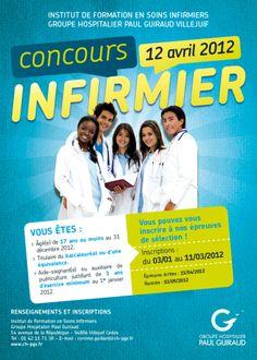 Affiche concours infirmier, IFSI du groupe hospitalier Paul Guiraud. CR/DA : Manifeste