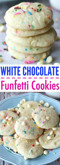 White Chocolate Funfetti White Chocolate Funfetti Cookies These White Chocolate Funfetti Cookies are made with just FOUR ingredients and they are completely addicting! With the help of a cake mix, you can have these ready in no time! Confetti Cake Mix Cookies, White Cake Mix Cookies, White Cake Mixes, Sweet Cookies, Cake Cookies, Sweet Treats, Cupcakes, Funfetti Kuchen, Funfetti Cookies