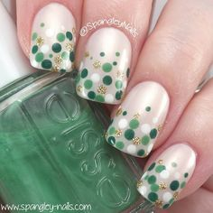 "1,025 Likes, 9 Comments - Nicole  (@spangleynails) on Instagram: ""Happy St Patrick's Day folks  I've just done this simple dotticure inspired by @_nailsbyjacky…"""
