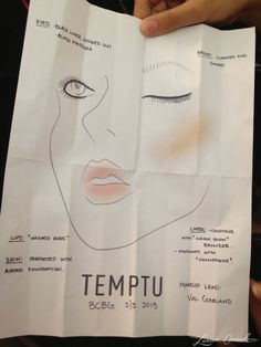 Makeup sketch from Val Garland, the lead makeup artist from Temptu #NYFashionWeek