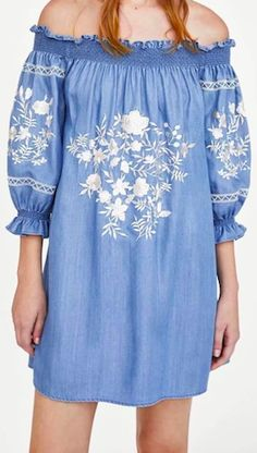 38d44b9ff3b8e This Off The Shoulder Floral Embroidery is flattering for all body types  and is definitely on trend