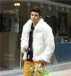 Best selling! Men 2015 new winter black fashion longhaired faux fur coat Fox fur Turn-down Collar full fur coats men fur jacket
