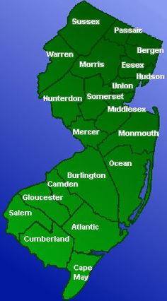 NJ MAP OF ALL THE COUNTY'S