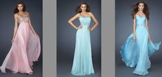 Three Bridesmaids Dresses - Strapless in wedding colour palate - La Femme Dresses