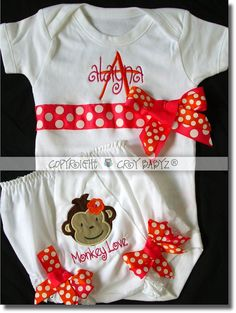 Monkey Love Custom Applique Baby Bloomer Diaper Cover by Crybabyz,