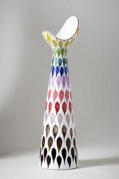 design-is-fine: Stig Lindberg, vase for Gustavsberg, Faience. Ceramic Tableware, Porcelain Ceramics, Ceramic Vase, Ceramic Pottery, Ceramic Painting, Swedish Design, Scandinavian Design, Stig Lindberg, Vintage Pottery