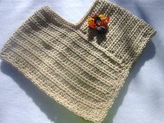 Girl's Crocheted Poncho with Turkey Pin Tan by crochetedbycharlene, $22.00