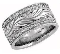 applesofgold.com - Hand Carved Paisley Diamond Wedding Band, 14K White Gold