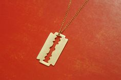 Razor Blade Gold Necklace Razon Blade Charm by meytalbarnoy, $45.00
