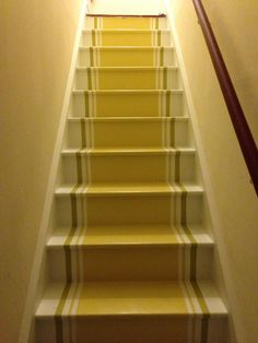 Painted stairs and runner. Painted Staircases, Painted Stairs, Painted Floors, Hallway Carpet Runners, Carpet Stairs, Stair Runners, Paint Runner, Staircase Runner, Floors And More