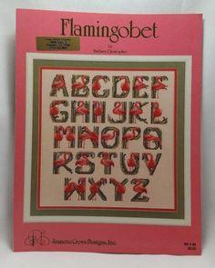 Flamingobet Counted Cross Stitch Pattern Flamingo Alphabet Jeanette Crews BK 98 #JeanetteCrewsDesignsInc #Frame