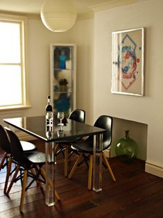 """Dollhouse glass dining table (photo by Annina)    1/12th scale Smoked """"glass"""" table with replica Eames chairs, and in the corner, an ELF mirror-backed unit in white.                                                                                                                                                                                 More"""