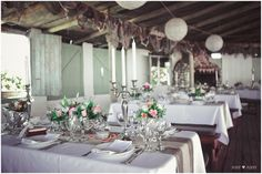 Handmade Rustic Beach Wedding {Strandkombuis Beach} | Confetti Daydreams - Rustic table setting with silver candelabras, vintage candle stickholders, antique silver cups and scattered pearls ♥ #BeachWedding #CapeTown #RusticWedding #RealBride
