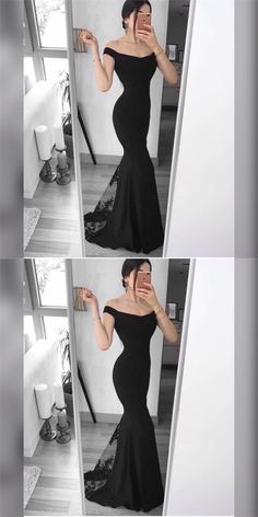 Black Satin Off the Shoulder Prom Dresses,Long Mermaid Evening Dresses,Sexy Formal Gowns,Party Graduation Dress for Women