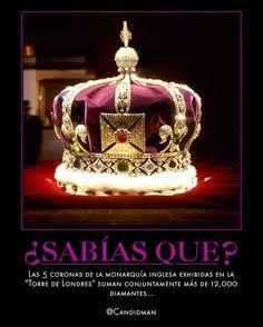 #Curiosidades Las 5 #Coronas de la #MonarquiaInglesa exhibidas en la #TorreDeLondres suman conjuntamente más de 12,000 #Diamantes... @Candidman