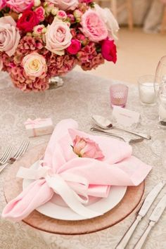 Beautiful pink table setting - love the bouquet-like napkin fold #wedding #gardenparty #tablescape #reception #placesetting