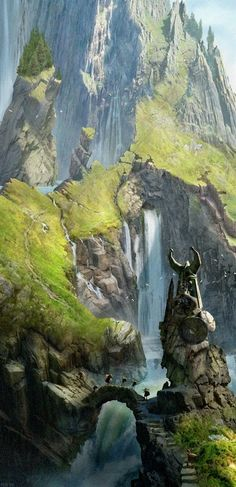 concept art nature environment landscape scene from the northern mountains of viking territories, viking age bridges over the stream and waterfall of a river. Viking statue as the guardian of the island. medieval environment concept art inspiration ideas