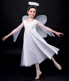 - Angelic Aria by A Wish Come True. Shown with: - Wings & Halo Jazz Dance, Dance Recital, Dance Wear, Cute Dance Costumes, Ballet Costumes, Angel Costumes, Costumes For Little Kids, Choir Dresses, Ballet Shows