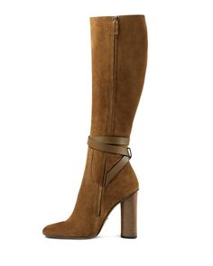 X2M4A Gucci Suede Knee-High Boot, New Marron
