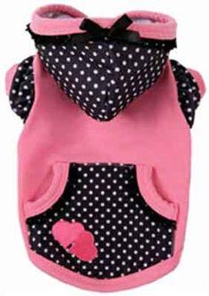 Polka Dot Pink Black Fleece Dog Sweatshirt Hoodi