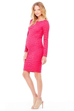 Ingrid & Isabel Women's Maternity Boat Neck Lace Dress, Berry, Medium: A classic silhouette combines with pretty stretch lace in this party-ready maternity dress. Cute Maternity Outfits, Maternity Gowns, Stylish Maternity, Maternity Fashion, Maternity Style, Spring Maternity, Maternity Clothing, Maternity Nursing, Vestidos Para Baby Shower