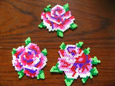 Rose flower coasters hama beads by oklyous' creative world: