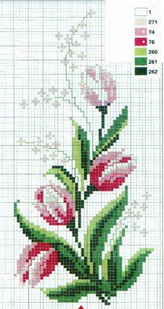 ESPAÇO DA CRIS: Gráfico Ponto Cruz - Flores e Rosas I