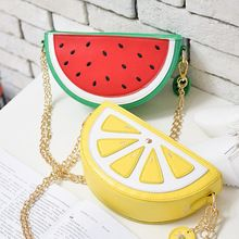 Lovely fruit bag 2017 new lemon watermelon bag small pure and fresh and chain bag shoulder aslant female bag Unique Purses, Cute Purses, Purses And Bags, Watermelon Bag, Novelty Bags, Accesorios Casual, Orange Bag, Chain Shoulder Bag, Shoulder Bags