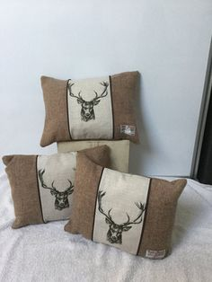 Handmade Harris Tweed and Stag print cushion accent cushion