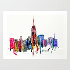 new york inked  Art Print by Bri.buckley - $21.00