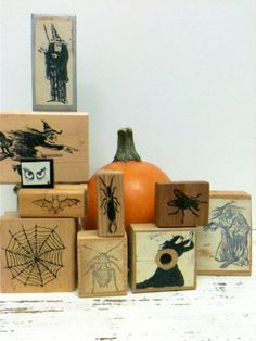 18 Halloween Rubber Stamp,Spooky Rubber Stamps by beachbabyblues, $58.00