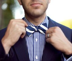 Gingham Shirt with Stripe Bow Tie