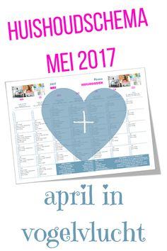 Gratis huishoudschema Mei 2017 en April in vogelvlucht