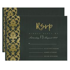 CLASSIC GOLD BLACK DAMASK FLORAL PATTERN RSVP CARD - romantic wedding love couple marriage wedding preparations