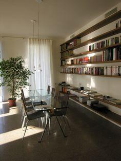 """""""HONE"""" Bookcase in Walnut supported by elements """"H"""" in Iron  / design Lauro Ghedini // - libreria in Noce Nazionale supportata da elementi in acciaio ad H, design Lauro Ghedini"""