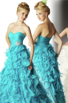 2012 Collection Prom Dresses Sweetheart Empire Waist Ruffles Beading/Sequins
