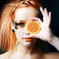 Orange make-up druid/ faerie pic. Mod Makeup, Eye Makeup Tips, Makeup Art, Hair Makeup, Makeup Ideas, Makeup Inspiration, Color Inspiration, Sommer Make-up Looks, Sommer Make Up